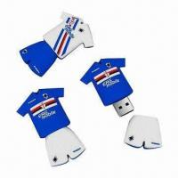 China Football Shirt USB Flash Drives, 512MB to 8GB Capacity, Various Colors are Available on sale