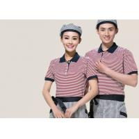 China Combed Cotton Restaurant Uniforms Polo Shirts Contrast Color For Men And Women on sale