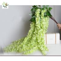 Buy UVG Green decorative artificial flower with silk wisteria for wedding stage decoration at wholesale prices