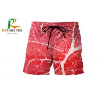 Quality Red Full Printing Mens Swim Shorts Without Zip / Elastic Waist Beachwear for sale
