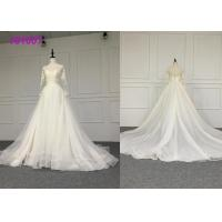 Crystal A Line Ball Gown Wedding Dress / Tulle Long Sleeve Ball Gown Wedding