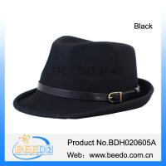 Quality Black men solid wool brim fedora hat for sale