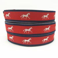 Buy cheap 25mm red polyester metallic jump ride horse pattern silver jacquard ribbon Australia market horse ribbon/blinding from wholesalers