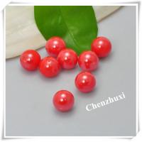 China 10mm glass half drilled pearl red on sale