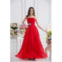 China Attractive Strapless Chiffon Floor Length Evening Dress Party Gown Beads on sale