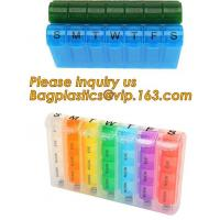 China Large Weekly Medication Capsule Pill Box,Fashionable portable pocket size pill box with cover easy open pill box organiz on sale