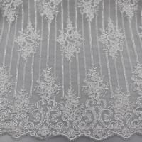 China Floral Corded Embroidered Sequin Lace Fabric For Bridal Gowns Dresses on sale