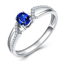 China White Gold Engagement Rings With Sapphire , Custom Made Gems Surrounded Diamonds on sale