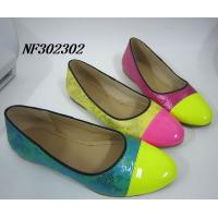 Quality women flat shoes,lady flat shoes, shinning pu with soft outsole for sale