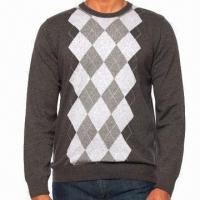 Quality Men's Crew Neck Sweater with Intarsia Pattern for sale