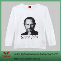 Quality White Long Sleeve T Shirt With Jobs Pattern for sale