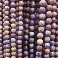 Quality purple color Stripe stone round beads for sale