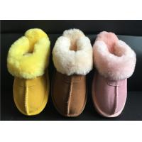 Quality Ladies Genuine Sheepskin Slippers Mules Non Slip Hard Sole Womens winter Warm Slippers for sale