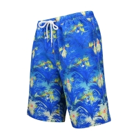 Quality Digital Printed Polyester Men'S Wide Leg Blue Beach Shorts for sale