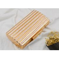 Hardware Box Rose Gold Clutch Bag , Glitter Champagne Color Evening Clutch Purse