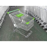 Quality 125L Supermarket Shopping Cart Zinc Plating 4 Inch Rubber Wheel for sale