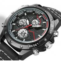 Buy cheap Genuine Leather Strap Alloy Men analog digital watch waterproof 30m Outdoor from wholesalers