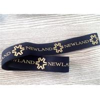 Quality 30MM Black Jacquard Elastic Band Silk - Screen Printed With Glossy Golden Silicone Logo for sale