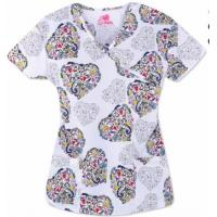 China Hospital Uniform Scrub Top Nurse Printed Hospital Scrubs on sale