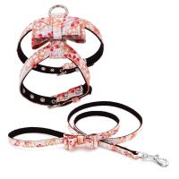 China Lightweight Luxury Custom Leather Dog Harness Fiber Material For Small Medium Dog on sale