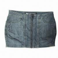 China Women's Mini Skirt with Long Zippers at CF and Crinkles Effects at Front Seams, Hot Style on sale