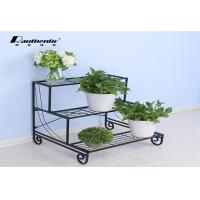 Buy cheap Removable three layers of simple flower iron multilayer floor type flower pot green space European storage rack from wholesalers