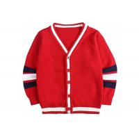 Quality Children Knitted Girls Red School Cardigan Sweater Striped Sleeve Pattern for sale