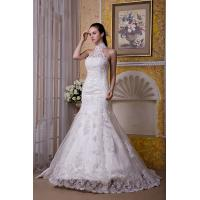 Quality New Designer Halter Ivory Sweep Train Mermaid Romantic Lace Wedding Gowns With Beads for sale