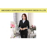 Quality Wool Long Sleeves Black Corporate Office Uniforms Female Business Suits for sale