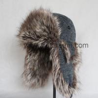 China heather grey knitted fabric winter hat with earflap fashion high quality unisex  Bomber Trapper Hat on sale