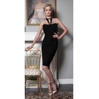 Quality Halter Black Backless Bandage Dress Sleeveless Knitted Technics for sale