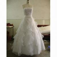 Quality Shiny Ball Gown with Organza and Hand-beaded for sale