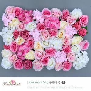 China Real Touch Artificial Flower Panel Silk Rose Wall For Wedding Stage Decoration on sale