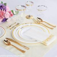 China 10.25'' Hot Selling Plastic Plate With Gold Rim Factory Wholesale Bulk Custom Color Dinner Plates on sale