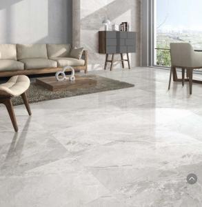 Quality Breccia Stone Bathroom 24x48 Size Porcelain Tile Marble Look Matt Finish Light Grey Color for sale
