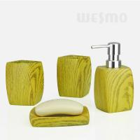 Quality Mitation Wood Series 4 Pcs Polyresin Bathroom Set Bathroom Accessories (WBP0828A) for sale