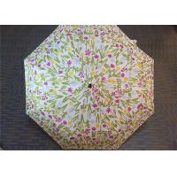 Quality Manual Open Transparent 3 Fold Umbrella Pink Flower Printed 21 Inch 8 Ribs for sale