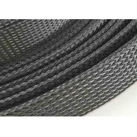 China Customized PET Expandable Braided Sleeving , Black Color Flexible Cable Sleeve on sale