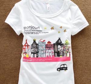 China Girls Cotton Single T-Shirt (DM-1064LX) on sale