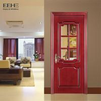 China Rural Hotel Solid Wood Interior Doors With Glass High Temperature Resistant on sale