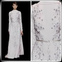 Sexy Evening Gowns High Neckline Celebrities Evening Dresses With Sequins Long Sleeve