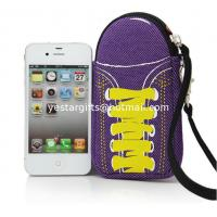 Quality Soft Purple Neoprene Phone Case With Wrist Strap , Special Shoes Design for sale