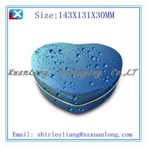 China blue heart shape chocolate tin box packaging on sale