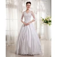 Quality Women Queen Anne Neckline Wedding Dresses Beaded / A line Wedding Gowns with long trains for sale