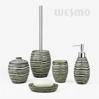 Quality Wood Grain Around The Bodies Polyresin Bathroom Set Look Like Kettles (WBP0819A) for sale