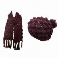 Quality Popcorn Stitch Scarf with Beret, Made of 100% Acrylic, Various Colors are Available for sale