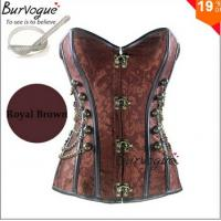 Quality Steel Bone Corset Top Steampunk Corset bustiers With Chain Gothic Bustier Spiral Boned Round Buckle S-6XL for sale