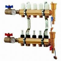Brass Manifold for Underfloor Heating and Water Separators, Nickel-plated