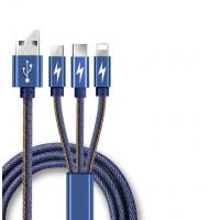 China Quick Charging 3.0a Micro Usb Data Cable 3 In 1 Jean Denim Leather Design on sale
