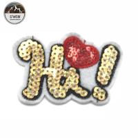 Quality 5.5*6 CM Size Sequin Letter Patches , Hi Letter Golden Sequin Iron On Patches for sale